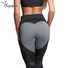keptfeet Heart Style Patchwork Sport Leggings Fitness Push Up Yoga Pants Leggins Sports Clothing Running Tights Gym Sportswear #Affiliate