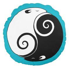 Yin Yang Rat Throw Pillow