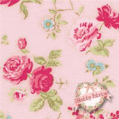 """Durham Anew 35023-20 by Lecien: Durham Anew is a collection by Lecien.  100% cotton.  43/44"""" wide.  Made in Japan.  This fabric features light and dark pink rose bouquets with small blue flowers scattered on a pink background."""