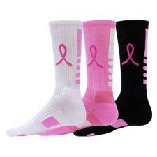 Elite Socks Breast Cancer Awareness Pink Ribbon Crew Football basketball volleyb | eBay