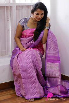 Check out some glorious kanjivaram silk sarees for festivals for the renowned brand called House of Ayana. Cotton Saree Designs, Sari Blouse Designs, Bridal Blouse Designs, Tussar Silk Saree, Kanchipuram Saree, Silk Cotton Sarees, Sari Design, Wedding Silk Saree, Saree Photoshoot