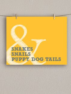 Nursery Art Print - Snakes & Snails Boy Nursery -  Yellow and Gray, 8x10. $18.00, via Etsy.