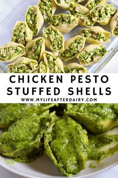 Creamy and dairy-free, these chicken pesto stuffed shells are the perfect summertime dinner. Made with a spinach pesto and shredded chicken stuffed into jumbo shells and topped with a spinach cream sauce these delicious stuffed shells are sure to hit the spot. Perfect for a summer dinner or a delicious lunch prep! Chicken Recipes Dairy Free, Fried Chicken Recipes, Yummy Chicken Recipes, Chicken Flavors, Delicious Dinner Recipes, Creamy Spinach Sauce, Spinach Stuffed Shells, Dairy Free Pesto, Healthy Foods