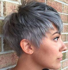 Layered Gray Pixie Edgy Pixie Cuts, Choppy Pixie Cut, Curly Pixie Cuts, Short Pixie, Short Blonde Haircuts, Short Hairstyle, Hairstyle Ideas, Pixie Hairstyles, Hair Ideas