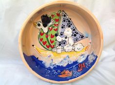 Dog Bowl / Hand Painted / Poodle /  / Ceramic / Pottery / Custom / Dog Trophy / Debby Carman / Faux Paw Productions by FauxPawProductions on Etsy