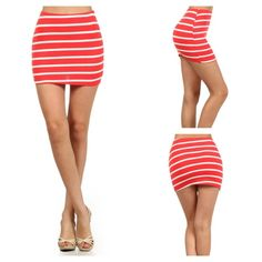 "Red/White Striped Mini Skirt This skirt is wardrobe staple MUST! It can be dressed up for a special date or paired with a simple t-shirt & sneakers for an ordinary day. It's soft, stretchy, and comfy!   *NWT *Elasticized waist band  *Red with white stripes *Slim fit *Mini length *Size L   *Waist: 14"" (laying flat without stretch) *Length: 13.5"" Skirts Mini"