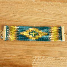 Chamane - Manchette turquoise et dorée