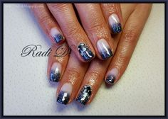 It`s all about nails: Grey glitter tips and one stroke flower http://radi-d.blogspot.com/2015/02/grey-glitter-tips-and-one-stroke-flower.html