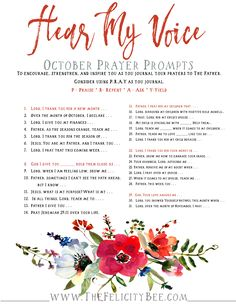 Our October HEAR MY VOICE PRAYER PROMPTS are here. These are a terrific resource to help you cultivate a relationship with Jesus. Use them daily in your prayer journals, for strength, for healing, and for guidance as you develop a strong relationship with The Lord.