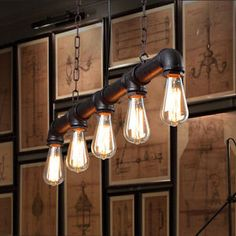 Water pipe Vintage pendant lights for dining room Bar rust red color home decoration American industrial loft iron pendant lamp-in Pendant Lights from Lights Conduit Lighting, Pipe Lighting, Island Lighting, Luminaire Vintage, Vintage Pendant Lighting, Lounge Lighting, Dining Room Lighting, Wire Pendant Light, Pendant Lights