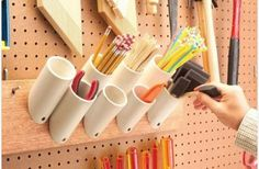 Get your garage shop in shape with garage organization and shelving. They come with garage tool storage, shelves and cabinets. Garage storage racks will give you enough space for your big items and ke Pvc Pipe Storage, Shed Storage, Craft Storage, Storage Hacks, Storage Solutions, Pegboard Storage, Easy Storage, Utensil Storage, Storage Systems
