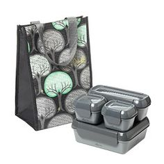 This Recycled Lunch set looks great and is a good green alternative. $24.99 http://www.containerstore.com/shop?productId=10030000==200=eco