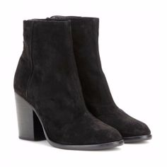 Rag & Bone Rag & Bone Ashby Ankle Boot: Rag & Bone's 'Ashby' ankle boots are a simple classic and versatile enough for every day. This black suede pair has a lightly cushioned insole, a stacked block heel and almond shaped toe, which makes them a flattering choice.