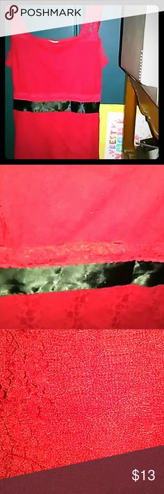 Lace red with black silk ribbon Perfect for the upcoming holidays A few minor issues I will post a pick Teenie Weenie Tops Camisoles