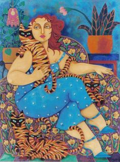 Woman and Cats by Hortensia Bueno    T Williams via Robyn Moulding onto Women and Cats--Community Board
