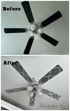 Batchelors Way: Office Redo - Custom Ceiling Fan Blades; kitchen fan here we come! Ceiling Fan Blades, Ceiling Fans, Paint Ceiling, Star Ceiling, Bedroom Ceiling, Ceiling Lights, Ceiling Fan Makeover, Contact Paper, Do It Yourself Home