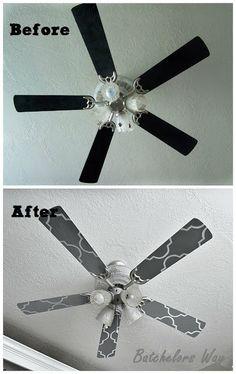 Custom Ceiling Fan Blades, stencil OMG brilliant idea!