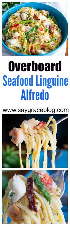 This Seafood Linguine Alfredo goes overboard with decadent lobster, sweet jumbo lump crab, tender shrimp and vegetables in a creamy, cheesy, buttery white sauce.