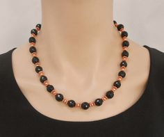 Onyx and copper necklace and earrings set by SilverSerenade