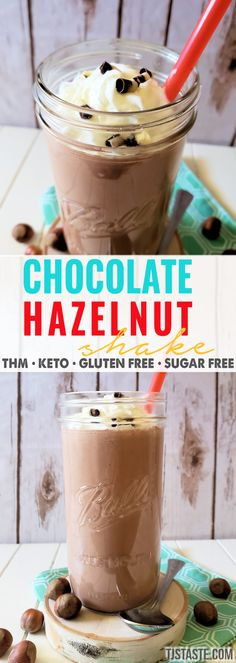healthy chocolate shakes With a velvety smooth texture complete with chocolate and hints of hazelnut flavor, this Chocolate Hazelnut Shake is here to satisfy your Nutella cravi Low Carb Shakes, Keto Protein Shakes, Keto Shakes, Keto Smoothie Recipes, Ketogenic Recipes, Keto Recipes, Keto Desserts, Trim Healthy Recipes, Protein Smoothies