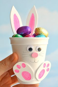 How to make foam cup bunnies diy foam cup easter bunnies bunnies cup diy easter foam 50 adorable easter treats that are almost too cute to eat! Bunny Crafts, Easter Crafts For Kids, Kids Diy, Easter Egg Hunt Ideas, Easter Basket Ideas, Easter Baskets To Make, Rabbit Crafts, Cup Crafts, Paper Plate Crafts