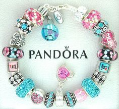 Authentic pandora silver charm bracelet with charms pink turquoise blue love mom #Pandoralobsterclaspclaw #European