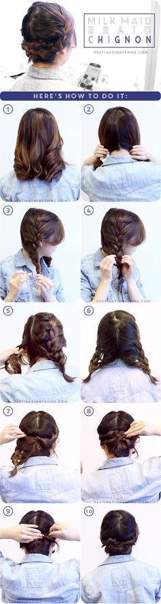 Style Your Shoulder Length Hair With This Milk Maid Braid Chignon Style Your Shoulder Length Hair With This Milk Maid Braid Chignon - braided hairstyles shoulder length braided hairstyle. Braided Prom Hair, Braided Chignon, Milkmaid Braid, Chignon Hair, Hairstyle Braid, Pretty Hairstyles, Braided Hairstyles, Hairdos, Updos