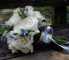 This bouquet shows the Tweedia and also includes some Freesia, which gives another texture.