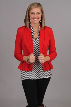 Loverboy Blazer, red $46  www.themintjulepboutique.com