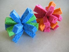 Make your own waterbombs from sponges - these were the BIGGEST hit at the public pool last year, my kids were the most popular kids there!!