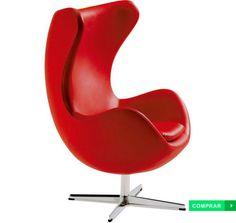 Poltrona Egg Couro Sintético Vermelha Ago. Do designer dinamarquês Arne Jacobsen, esta poltrona foi produzida em couro sintético e tem em seu enchimento espuma de densidade D-28 e em sua base uma estrutura de alumínio.