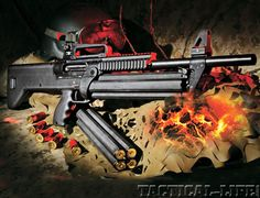 SRM's 1216 combat shotgun has a semi-bullpup design to keep its overall length down. Its semi-auto action is fed with a rotating four-tube magazine, which offers 16 shells of firepower with a simple twis