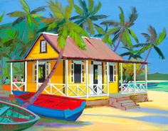 The Cove by artist Shari Erickson Caribbean Homes, Caribbean Art, Hawaiian Art, Tropical Art, Coastal Art, Naive Art, Beach Art, Pictures To Paint, Acrylic Art