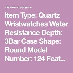 Item Type: Quartz Wristwatches Water Resistance Depth: 3Bar Case Shape: Round Model Number: 124 Feature: Water Resistant Boxes & Cases Material: Paper Gender: Women Style: Fashion & Casual Clasp Type: Bracelet Clasp Dial Diameter: 23mm Case Material: Alloy Band Material Type: Stainless Steel Band Length: 20cm M Bracelet Clasps, Wristwatches, Quartz Watch, Style Fashion, Gender, Boxes, Stainless Steel, Number, Shapes