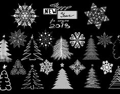 """Check out new work on my @Behance portfolio: """"Fir-trees and snowflakes set"""" http://be.net/gallery/58555735/Fir-trees-and-snowflakes-set"""