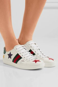 huge selection of b65da 7f4a3 Gucci - Ace metallic ayers-trimmed leather sneakers