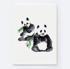 Panda Watercolor Animal Print Bear Painting Animals Art Poster Black and White Home Decor Woman Gift Panda Drawing, Fine Art Drawing, Bear Paintings, Nursery Paintings, Nursery Art, Abstract Drawings, Animal Drawings, Drawing Animals, Pencil Drawings