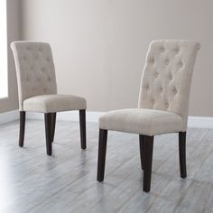 Morgana Tufted Parsons Dining Chair - Set of 2 - Kitchen & Dining Room Chairs at Hayneedle