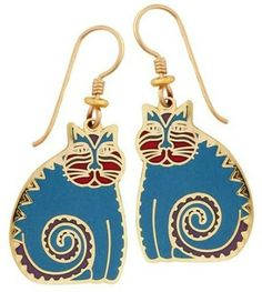 Laurel Burch Mythical Cat Teal Cloisonne Drop Earrings cats Retired