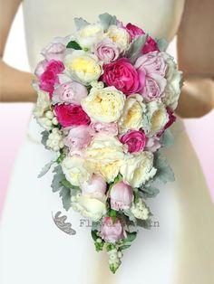Trailing Bridal Bouquet of David Austin Roses
