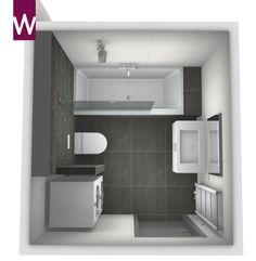 Compacte badkamer met wasmachine, droger, wandcloset, ligbad met