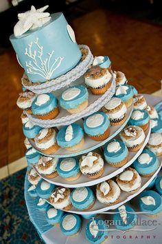 Seashell Beach Wedding Cupcakes