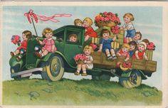 AK - Marie Flatscher Stil - KINDER - BLUMEN - LKW - Gel. 1943 Niederlande in Sammeln & Seltenes, Ansichtskarten, Motive | eBay