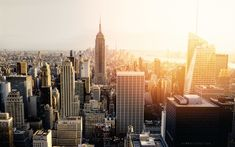 Download wallpapers New York, skyscrapers, metropolis, sunset, evening, Empire State Building, USA, business centers