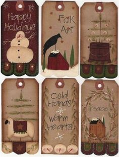 Happy Holiday Prim Tags by mayberryprim on Etsy, $4.99