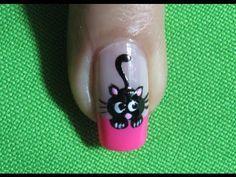 Uñas De Gato - Black Cat Nail Art |Nails-Uñas| Gato negro |Black Cat |Nail Art | Nailslucerocordoba - YouTube