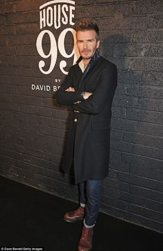 Dashing: Ensuring he was his own best advert, the handsome footballer's beard was coiffed to perfection while he also sported an envy-inducing dapper ensemble Hipster Outfits, Hipster Fashion, Urban Fashion, Men's Fashion, Best Mens Fashion, Mens Fashion Shoes, Dr. Martens, David Beckham Style, Moda Formal