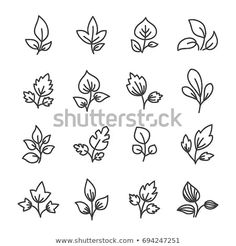 Simple Leaf Line Icon Elements Stock Vector (Royalty Free) 694247251 Easy Doodle Art, Leaf Illustration, Leaves Vector, Simple Doodles, Line Icon, Pencil Drawings, Royalty Free Stock Photos, Flower Paintings, Notebook