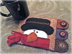 Snowman Wool Applique Mug Rug Pattern - Applique Patterns - WW 018 - Hiram Penny Rug Patterns, Wool Applique Patterns, Felt Applique, Felt Patterns, Applique Ideas, Applique Designs, Print Patterns, Felted Wool Crafts, Felt Crafts