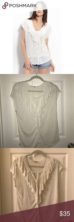 "Soft Joie Sz XS ""Jenna B"" White top ruffle Cute top from Joie's Soft line.  And it is so soft.   Size Extra Small.  Fits very loosely.  Great for layering because it's a little sheer.  I used a flash in one pic and not in another because the lighting is bad in my living room.  Please let me know if you have any questions! Joie Tops"